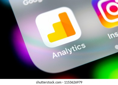 Sankt-Petersburg, Russia, August 10, 2018: Google Analytics application icon on Apple iPhone X screen close-up. Google Analytics icon. Google Analytics application. Social media network
