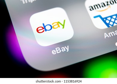 Sankt-Petersburg, Russia, August 10, 2018: eBay application icon on Apple iPhone X screen close-up. eBay app icon. eBay.com is largest online auction and shopping websites.