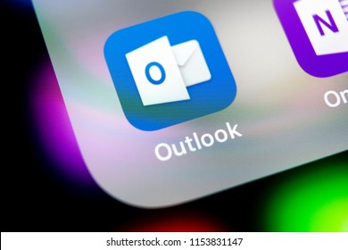 Sankt-Petersburg, Russia, August 10 2018: Microsoft Outlook office application icon on Apple iPhone X screen close-up. Microsoft outlook app icon. Microsoft OutLook application. Social media network