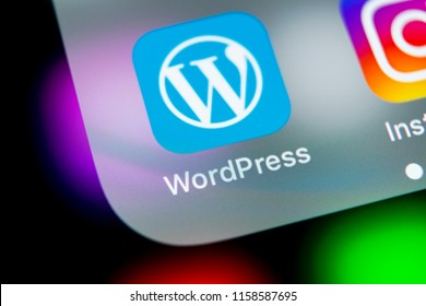 Sankt-Petersburg, Russia, August 10, 2018: Wordpress application icon on Apple iPhone X screen close-up. Wordpress app icon. Wordpress.com application. Social network