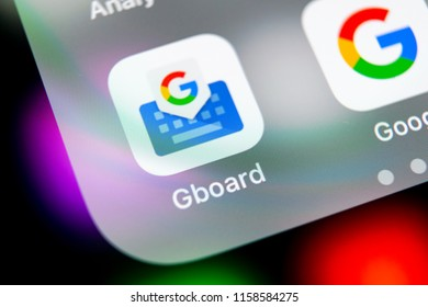 Sankt-Petersburg, Russia, August 16, 2018: Google Gboard application icon on Apple iPhone X smartphone screen close-up. Google gboard app icon. Social network. Social media icon