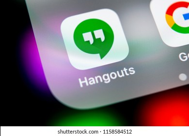 Sankt-Petersburg, Russia, August 16, 2018: Google Hangouts application icon on Apple iPhone X smartphone screen close-up. Google hangouts app icon. Social network. Social media icon