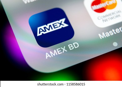 Sankt-Petersburg, Russia, August 16, 2018: Amex application icon on Apple iPhone X smartphone screen close-up. Amex app icon. American express is an online electronic finance payment system.
