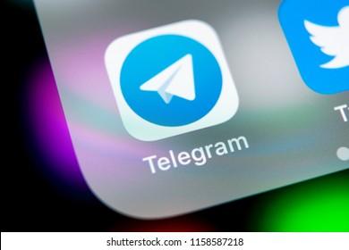 Sankt-Petersburg, Russia, August 16, 2018: Telegram application icon on Apple iPhone X screen close-up. Telegram app icon. Telegram is an online social media network. Social media app