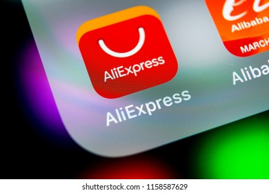 Sankt-Petersburg, Russia, August 16, 2018: Aliexpress application icon on Apple iPhone X smartphone screen. Aliexpress app icon. Aliexpress.com is popular e-commerce application. Social media icon
