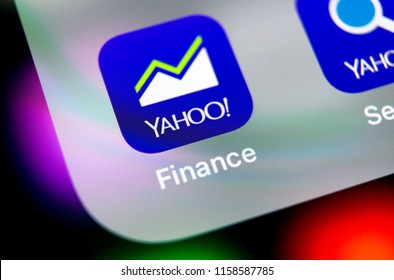 Sankt-Petersburg, Russia, August 16, 2018: Yahoo finance application icon on Apple iPhone X smartphone screen close-up. Yahoo finance app icon. Social network. Social media icon