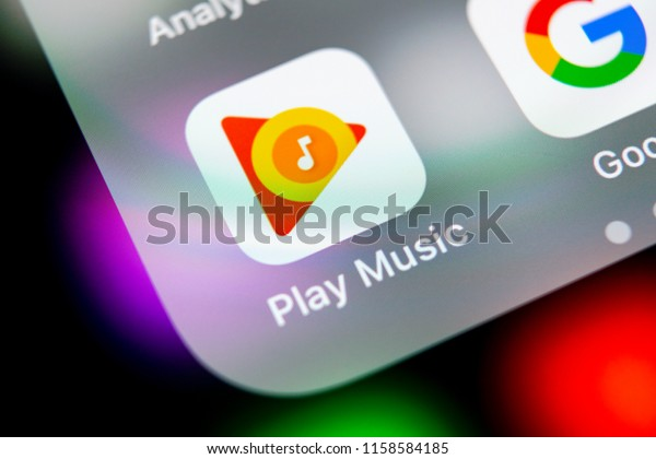 Sankt-Petersburg, Russia, August 16, 2018: Google Play Music application icon on Apple iPhone X screen close-up. Google Play app icon. Google Play music application. Social media network