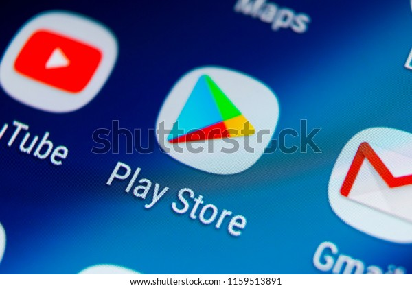 Sankt-Petersburg, Russia, August 19, 2018: Play store application icon on Samsung Galaxy S9 smartphone screen. Mobile application icon of play store. Social network. Google Play Store. Play Market