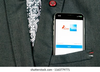 Sankt-Petersburg, Russia, August 24, 2018: Amex application icon on Apple iPhone X smartphone screen in jacket pocket. Amex app icon. American express is an online electronic finance payment system.