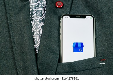 Sankt-Petersburg, Russia, August 24, 2018: Google My Business application icon on Apple iPhone X screen in jacket pocket. Google My Business icon. Google My business application. Social media network
