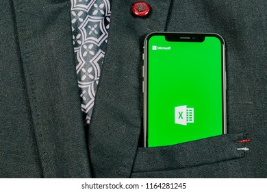 Sankt-Petersburg, Russia, August 24, 2018: Microsoft Exel application icon on Apple iPhone X screen in jacket pocket. Microsoft office Exel app icon. Microsoft office on mobile phone. Social media