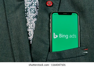 Sankt-Petersburg, Russia, August 24 2018: Bing application icon on Apple iPhone X screen close-up in jacket pocket. Bing ads app icon. Bing ads is online advertising application. Social media network.