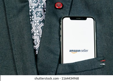 Sankt-Petersburg, Russia, August 24, 2018: Amazon Seller application icon on Apple iPhone X screen close-up in jacket pocket. AmazonSeller app icon. Amazon Seller application. Social media icon