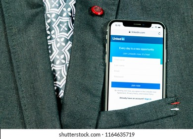 Sankt-Petersburg, Russia, August 24, 2018: Linkedin homepage on Apple iPhone X screen close-up in jacket pocket. Linkedin app icon. linkedin.com. Social media app. Social network