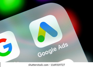 Sankt-Petersburg, Russia, August 31, 2018: Google Ads AdWords application icon on Apple iPhone X screen close-up. Google Ad Words icon. Google ads Adwords application. Social media network