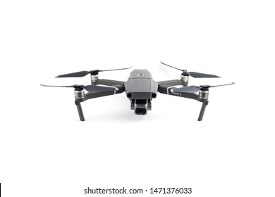 Sankt-Petersburg, Russia - august 5, 2019: New drone DJI Mavic 2 Pro over white background, ready to fly. Front View on the drones gimbal and camera
