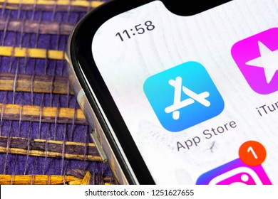 Sankt-Petersburg, Russia, December 5, 2018: Apple store application icon on Apple iPhone X smartphone screen close-up. Mobile application icon of app store. Social network. AppStore