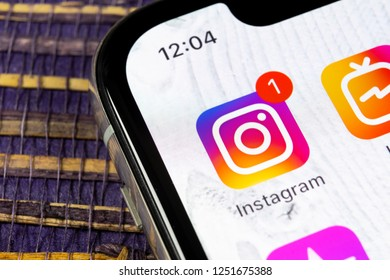 Sankt-Petersburg, Russia, December 5, 2018: Instagram application icon on Apple iPhone X smartphone screen close-up. Instagram app icon. Social media icon. Social network