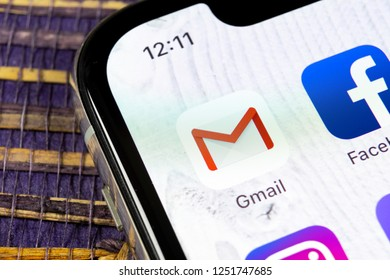 Sankt-Petersburg, Russia, December 5, 2018: Google Gmail application icon on Apple iPhone X smartphone screen close-up. Gmail app icon. Gmail is  popular Internet online e-mail. Social media icon