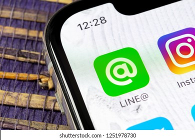 Sankt-Petersburg, Russia, December 5, 2018: Line application icon on Apple iPhone X screen close-up. Line app icon. Line is an online social media network. Social media app