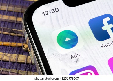 Sankt-Petersburg, Russia, December 5, 2018: Facebook Ads application icon on Apple iPhone X screen close-up. Facebook Business app icon. Facebook Ads mobile application. Social media network