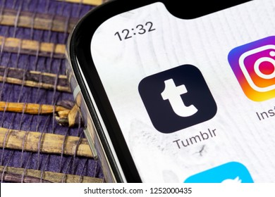 Sankt-Petersburg, Russia, December 5, 2018: Tumblr application icon on Apple iPhone X smartphone screen close-up. Tumblr app icon. Tumblr is internet online social network