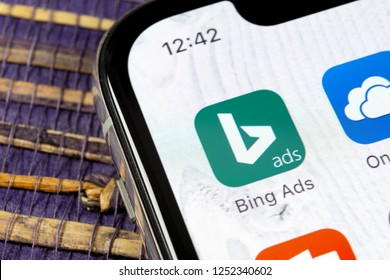 Sankt-Petersburg, Russia, December 5, 2018: Bing application icon on Apple iPhone X screen close-up. Bing ads app icon. Bing ads is online advertising application. Social media network.