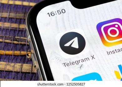 Sankt-Petersburg, Russia, December 5, 2018: Telegram X application icon on Apple iPhone X screen close-up. Telegram X app icon. Telegram X is an online social media network. Social media app