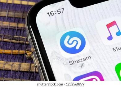 Sankt-Petersburg, Russia, December 5, 2018: Shazam application icon on Apple iPhone X screen close-up. Shazam app icon. Shazam is popular online music application. Social media app