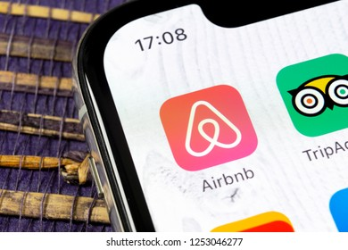 Sankt-Petersburg, Russia, December 5, 2018: Airbnb application icon on Apple iPhone X screen close-up. Airbnb app icon. Airbnb.com is online website for booking rooms. social media network.