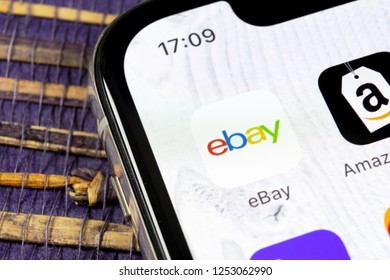 Sankt-Petersburg, Russia, December 5, 2018: eBay application icon on Apple iPhone X screen close-up. eBay app icon. eBay.com is largest online auction and shopping websites.