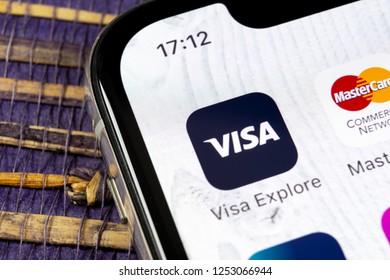 Sankt-Petersburg, Russia, December 5, 2018: Visa application icon on Apple iPhone X screen close-up. Visa app icon. Visa online application. Social media app
