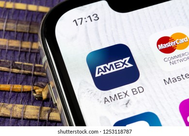 Sankt-Petersburg, Russia, December 5, 2018: Amex application icon on Apple iPhone X smartphone screen close-up. Amex app icon. American express is an online electronic finance payment system.