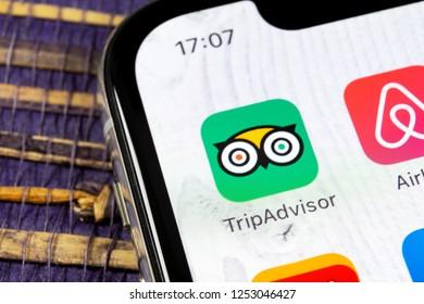 Sankt-Petersburg, Russia, December 5: Tripadvisor application icon on Apple iPhone X screen close-up. Tripadvisor.com app icon. Social media network. Social media app