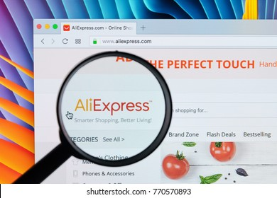 Sankt-Petersburg Russia December 7, 2017: Aliexpress.com website homepage on Apple iMac monitor screen under magnifying glass. Aliexpress is one of popular e-commerce application