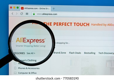 Sankt-Petersburg Russia December 7, 2017: Aliexpress.com website homepage on Apple iMac monitor screen under magnifying glass. Ali express is one of popular e-commerce application