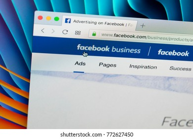 Sankt-Petersburg Russia December 7, 2017: Facebook business homepage website on Apple iMac monitor screen. Facebook is the most popular social network in the world.