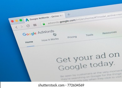Sankt-Petersburg Russia December 7, 2017: Google Adwords homepage website on Apple iMac monitor screen. Google AdWords is online advertising service.