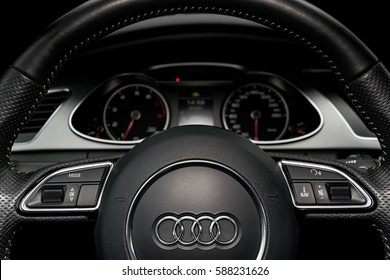 Sankt-Petersburg, Russia, Februaru 20, 2017 - Audi A4 s-line, close up of steering wheel, car interior design