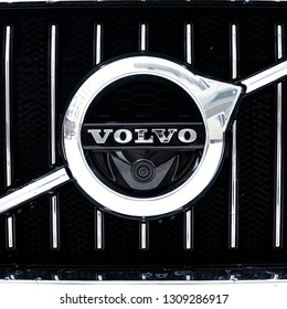 Sankt-Petersburg, Russia - February 08, 2019 VOLVO V90CC, front-side view. Macro view of Volvo Cars Manufactury logo. Test-drive of new Volvo.