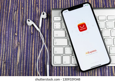 Sankt-Petersburg, Russia, February 10, 2019: Aliexpress application icon on Apple iPhone X smartphone screen. Aliexpress app icon. Aliexpress.com is popular e-commerce application. Social media icon