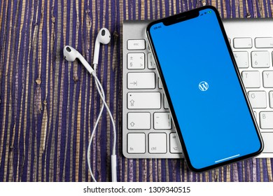 Sankt-Petersburg, Russia, February 10, 2019: Wordpress application icon on Apple iPhone X screen close-up. Wordpress app icon. Wordpress.com application. Social network