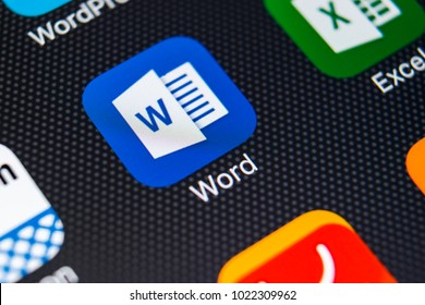 Sankt-Petersburg, Russia, February 11, 2018: Microsoft Word application icon on Apple iPhone X screen close-up. Microsoft Word icon. Microsoft office on mobile phone. Social media