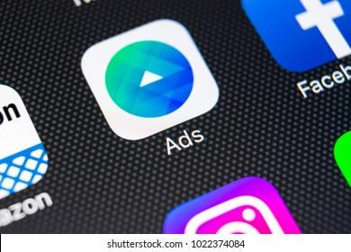 Sankt-Petersburg, Russia, February 11, 2018: Facebook Ads application icon on Apple iPhone X screen close-up. Facebook Ads app icon. Facebook Ads mobile application. Social media network