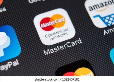 Sankt-Petersburg, Russia, February 11, 2018: MasterCard application icon on Apple iPhone X screen close-up. Master Card icon. MasterCard online application. Social media app