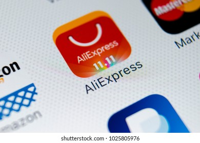 Sankt-Petersburg, Russia, February 16, 2018: Aliexpress application icon on Apple iPhone X smartphone screen close-up. Aliexpress app icon. Aliexpress.com is popular e-commerce application.