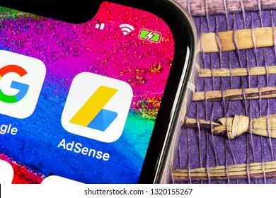 Sankt-Petersburg, Russia, February 17, 2019: Google AdSense application icon on Apple iPhone X screen close-up. Google AdSense app icon. Google AdSense application. Social media network