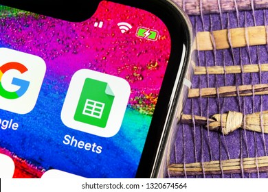 Sankt-Petersburg, Russia, February 17, 2019: Google Sheets icon on Apple iPhone X smartphone screen close-up. Google sheets icon. Social network. Social media icon