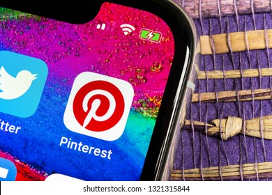 Sankt-Petersburg, Russia, February 17, 2019: Pinterest application icon on Apple iPhone X smartphone screen. Pinterest app icon. Pinterest is the popular Internet social network. Social media icon