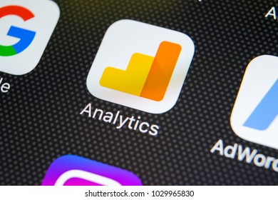 Sankt-Petersburg, Russia, February 20, 2018: Google Analytics application icon on Apple iPhone X screen close-up. Google Analytics icon. Google Analytics application. Social media network